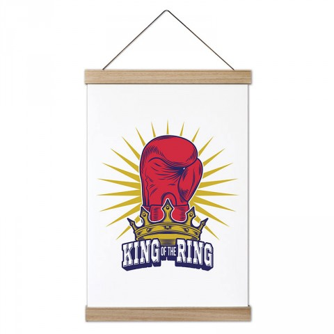Ringlerin Kralı tasarım dekoratif ahşap çerçeveli kanvas poster tablo modelleri. Boksöre ve dövüşçüye en güzel hediye modern kanvas poster duvar tabloları.
