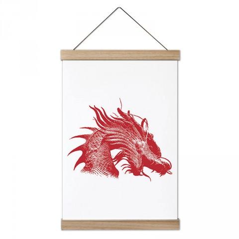 Kızıl Ejder tasarım dekoratif ahşap çerçeveli kanvas poster tablo modelleri. Dövüşçüye en güzel hediye modern kanvas poster duvar tabloları.