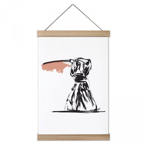 Karakalem Samurai tasarım dekoratif ahşap çerçeveli kanvas poster tablo modelleri. Dövüşçüye en güzel hediye modern kanvas poster duvar tabloları.
