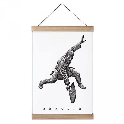 Karakalem Shaolin tasarım dekoratif ahşap çerçeveli kanvas poster tablo modelleri. Dövüşçüye en güzel hediye modern kanvas poster duvar tabloları.