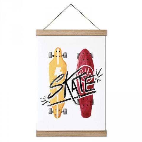 Kırmızı ve Sarı Kaykay Çizimli tasarım dekoratif ahşap çerçeveli kanvas poster tablo modelleri. Kaykaycıya en güzel hediye modern kanvas poster duvar tabloları.