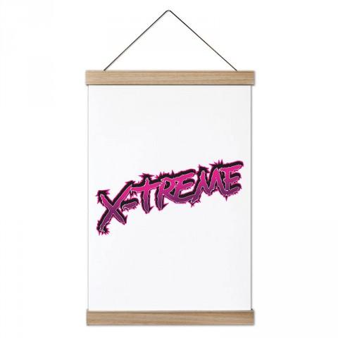 X-treme Yazı tasarım dekoratif ahşap çerçeveli kanvas poster tablo modelleri. Extreme sporları sevenlere en güzel hediye modern kanvas poster duvar tabloları.