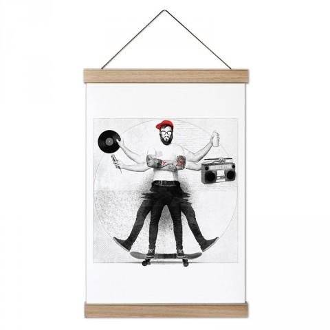 Müzik ve Kaykaylı Hipster tasarım dekoratif ahşap çerçeveli kanvas poster tablo modelleri. Kaykaycıya en güzel hediye modern kanvas poster duvar tabloları.