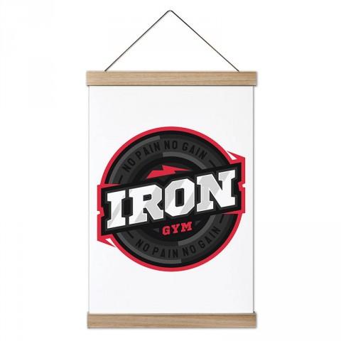 Iron Gym No Pain No Gain tasarım dekoratif ahşap çerçeveli kanvas poster tablo modelleri. Vücut geliştiricilere en güzel hediye modern kanvas poster duvar tabloları.