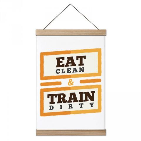 Eat Clean Train Dirty tasarım dekoratif ahşap çerçeveli kanvas poster tablo modelleri. Vücut geliştiricilere en güzel hediye modern kanvas poster duvar tabloları.