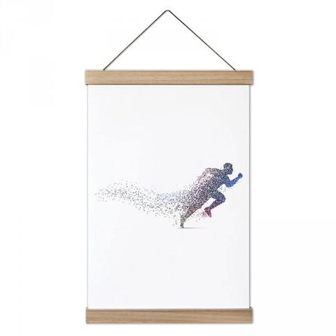 Renkli Koşan İnsan Silüeti tasarım dekoratif ahşap çerçeveli kanvas poster tablo modelleri. Koşuculara ve koşu severlere en güzel hediye modern kanvas poster duvar tabloları.