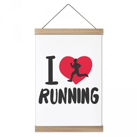 I Love Running tasarım dekoratif ahşap çerçeveli kanvas poster tablo modelleri. Koşuculara ve koşu severlere en güzel hediye modern kanvas poster duvar tabloları.