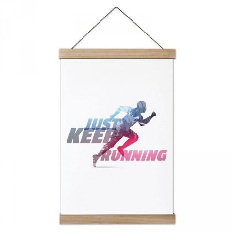 Just Keep Running tasarım dekoratif ahşap çerçeveli kanvas poster tablo modelleri. Koşuculara ve koşu severlere en güzel hediye modern kanvas poster duvar tabloları.