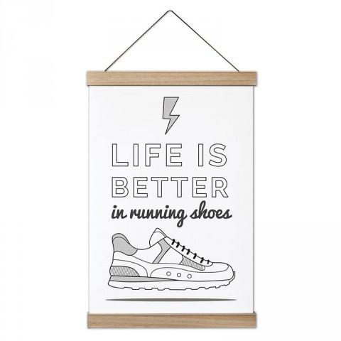 Hayat Koşu Ayakkabılarıyla Daha İyi tasarım dekoratif ahşap çerçeveli kanvas posterler. Koşuculara ve koşu severlere en güzel hediye modern kanvas poster duvar tabloları.