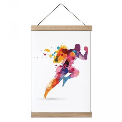 Sulu Boya Çizimli Koşucu tasarım dekoratif ahşap çerçeveli kanvas poster tablo modelleri. Koşuculara ve koşu severlere en güzel hediye modern kanvas posterler.