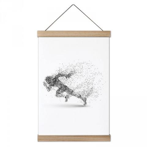Piksel Koşucu Silüeti tasarım dekoratif ahşap çerçeveli kanvas poster tablo modelleri. Koşuculara ve koşu severlere en güzel hediye modern kanvas poster duvar tabloları.