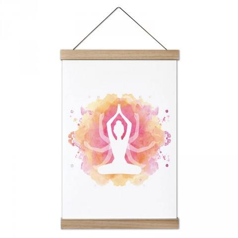 Watercolor Yoga Yogini tasarım dekoratif ahşap çerçeveli kanvas poster tablo modelleri. Yogacılara ve yoga severlere en güzel hediye modern kanvas poster duvar tabloları.