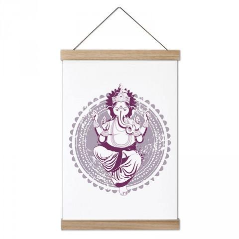 Fil Tanrı Ganesha Yoga tasarım dekoratif ahşap çerçeveli kanvas poster tablo modelleri. Yogacılara ve yoga severlere en güzel hediye modern kanvas poster duvar tabloları.
