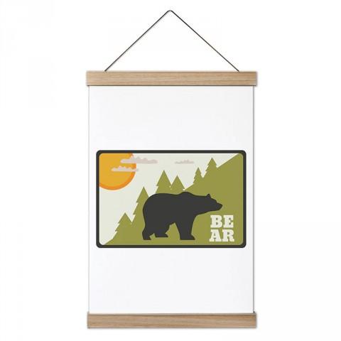 Bear Ayı ve Doğa tasarım ahşap çerçeveli kanvas poster tablo modelleri. Orman, kamp ve doğa severlere en güzel hediye modern kanvas poster duvar tabloları.