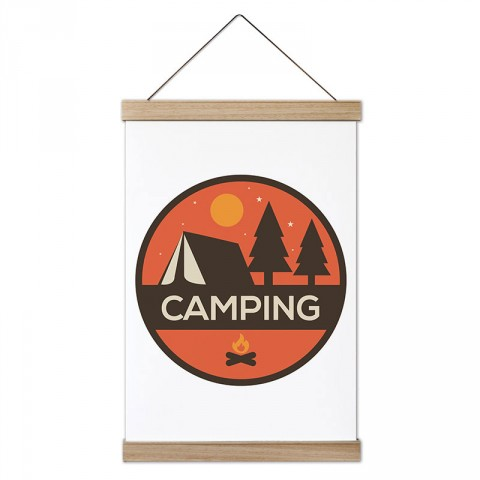 Camping Yuvarlak tasarım ahşap çerçeveli kanvas poster tablo modelleri. Kamp ve doğa severlere, kampçılara en güzel hediye modern kanvas poster duvar tabloları.
