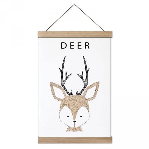 Küçük Geyik tasarım ahşap çerçeveli kanvas poster tablo modelleri. Doğa, orman, geyik ve hayvanseverlere en güzel hediye modern kanvas poster duvar tabloları.