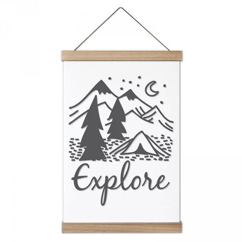 Explore Keşfetmek tasarım ahşap çerçeveli kanvas poster tablo modelleri. Orman, kamp ve doğa severlere en güzel hediye modern kanvas poster duvar tabloları.