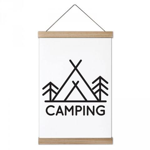 Camping Minimal Çadır tasarım ahşap çerçeveli kanvas poster tablo modelleri. Kamp ve doğa severlere, kampçılara en güzel hediye modern kanvas poster duvar tabloları.