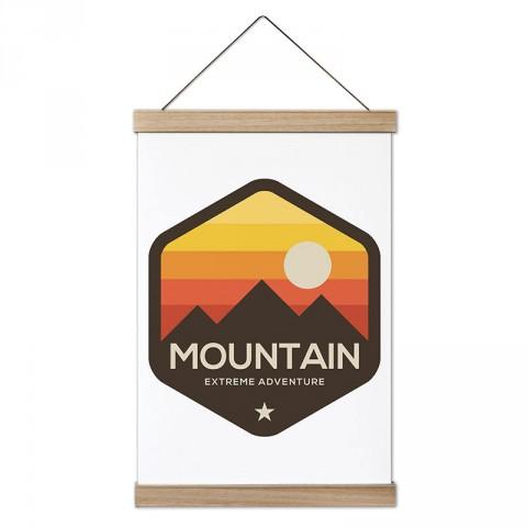 Ölçüsüz Macera Dağcılık tasarım ahşap çerçeveli kanvas posterler. Dağ, tırmanış, doğa severlere ve dağcılara en güzel hediye modern kanvas poster duvar tabloları.
