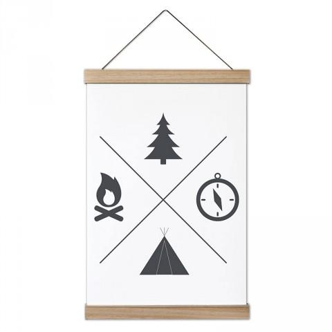 Minimal Kamp ve Doğa tasarım ahşap çerçeveli kanvas poster tablo modelleri. Kamp ve doğa severlere, kampçılara en güzel hediye modern kanvas poster duvar tabloları.