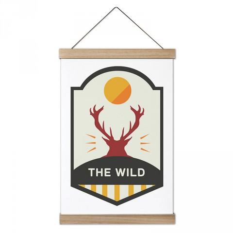 The Wild Geyik tasarım ahşap çerçeveli kanvas poster tablo modelleri. Orman, kamp ve doğa severlere en güzel hediye modern kanvas poster duvar tabloları.