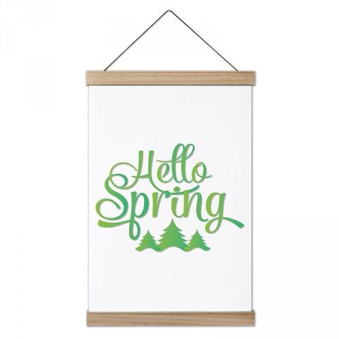 Merhaba Bahar tasarım ahşap çerçeveli kanvas poster tablo modelleri. İlkbahar, yaz, sonbahar, kış mevsimleri konulu en güzel hediye modern kanvas poster duvar tabloları.