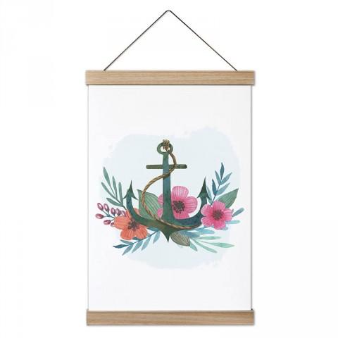 Çiçek Desenli Deniz Çıpası tasarım ahşap çerçeveli kanvas poster tablo modelleri. Deniz severlere ve denizcilere en güzel hediye modern kanvas poster duvar tabloları.