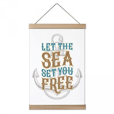 Deniz Seni Özgür Kılsın tasarım ahşap çerçeveli kanvas poster tablo modelleri. Deniz severlere ve denizcilere en güzel hediye modern kanvas poster duvar tabloları.