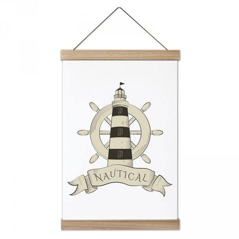 Nautical Deniz Feneri ve Dümen tasarım ahşap çerçeveli kanvas poster tablo modelleri. Deniz severlere ve denizcilere en güzel hediye modern kanvas poster duvar tabloları.