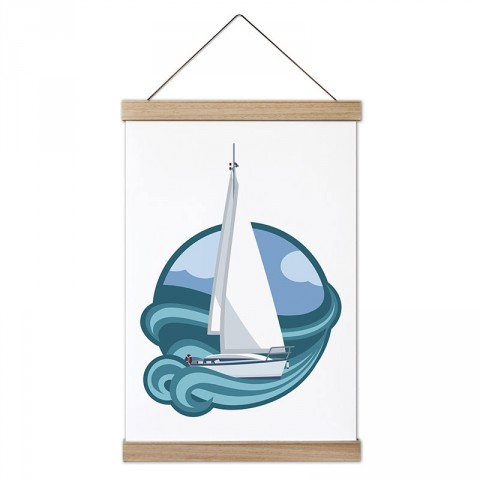 Yelkenli Soft Çizim tasarım ahşap çerçeveli kanvas poster tablo modelleri. Yelkencilere, deniz ve yelkenli severlere en güzel hediye modern kanvas poster duvar tabloları.