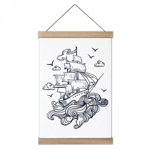 Uçan Büyük Yelkenli tasarım ahşap çerçeveli kanvas poster tablo modelleri. Yelkencilere, deniz ve yelkenli severlere en güzel hediye modern kanvas poster duvar tabloları.