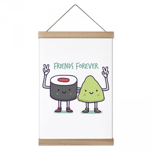Sonsuza Kadar Arkadaş Sushi ve Vasabi Çizimleri tasarım ahşap çerçeveli kanvas posterler. Aşçılara, farklı yemek ve yiyecek meraklılarına hediyelik kanvas posterler.