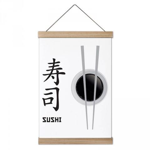 Japon Sushi ve Yemek Çubukları tasarım ahşap çerçeveli kanvas poster tablo modelleri. Aşçılara, farklı yemek ve yiyecek meraklılarına en güzel hediye kanvas posterler.