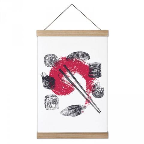 Karakalem Sushi Çizimleri tasarım ahşap çerçeveli kanvas poster tablo modelleri. Aşçılara, farklı yemek ve yiyecek meraklılarına en güzel hediye modern kanvas posterler.