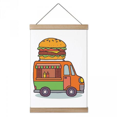 Araba Hamburger Büfesi tasarım ahşap çerçeveli kanvas poster tablo modelleri. Aşçılara, farklı yemek ve yiyecek meraklılarına en güzel hediye modern kanvas posterler.