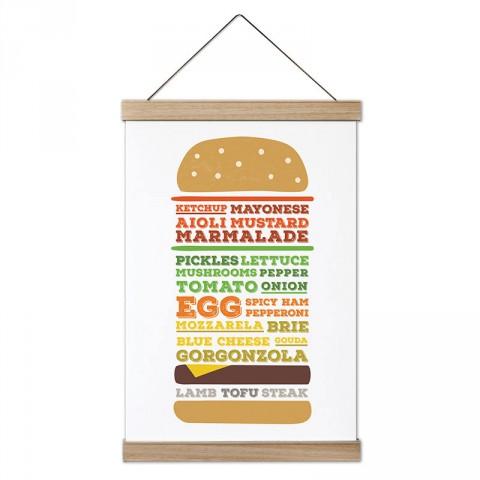 Burger Görünümlü Burger Tarifi tasarım ahşap çerçeveli kanvas poster tablo modelleri. Aşçılara, farklı yemek ve yiyecek meraklılarına en güzel hediye kanvas posterler.