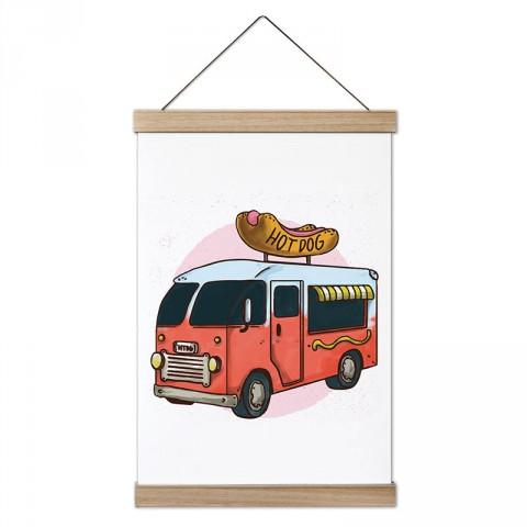 Gezici Hot Dog Arabası tasarım ahşap çerçeveli kanvas poster tablo modelleri. Aşçılara, farklı yemek ve yiyecek meraklılarına en güzel hediye modern kanvas posterler.