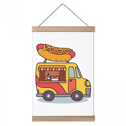 Gezici Sosisli Arabası tasarım ahşap çerçeveli kanvas posterler. Aşçılara, farklı yemek ve yiyecek meraklılarına en güzel hediye modern kanvas poster duvar tabloları.