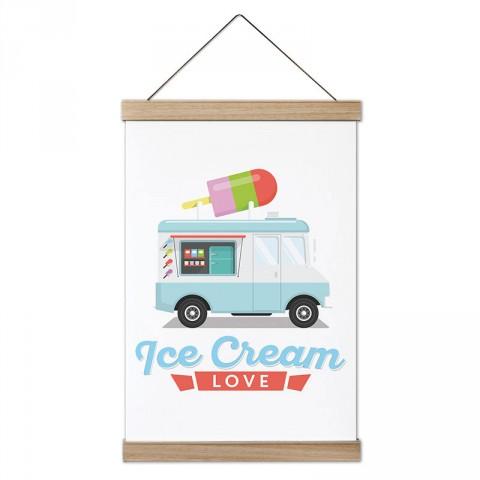 Dondurma Aşkı tasarım ahşap çerçeveli kanvas poster tablo modelleri. Aşçılara, farklı yemek ve yiyecek meraklılarına en güzel hediye modern kanvas poster duvar tabloları.