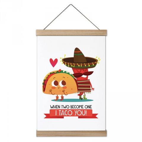 I Taco You tasarım ahşap çerçeveli kanvas poster tablo modelleri. Aşçılara, farklı yemek ve yiyecek meraklılarına en güzel hediye modern kanvas poster duvar tabloları.