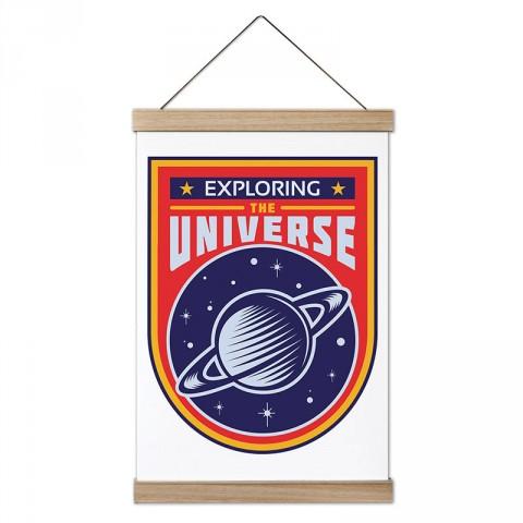 Evreni Keşfetmek tasarım dekoratif ahşap çerçeveli kanvas poster tablo modelleri. Uzay ve galaksi konulu en güzel hediye modern kanvas poster duvar tabloları.