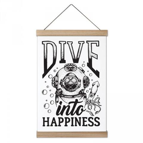 Mutluluğa Dalış tasarım dekoratif ahşap çerçeveli kanvas poster. Dalgıçlara, dalış ve scuba diving severlere en güzel hediye modern kanvas poster duvar tabloları.