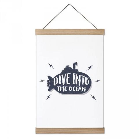 Okyanusa Dalın tasarım dekoratif ahşap çerçeveli kanvas poster. Dalgıçlara, dalış ve scuba diving severlere en güzel hediye modern kanvas poster duvar tabloları.