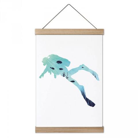 Deniz Desenli Dalgıç tasarım dekoratif ahşap çerçeveli kanvas poster. Dalgıçlara, dalış ve scuba diving severlere en güzel hediye modern kanvas poster duvar tabloları.