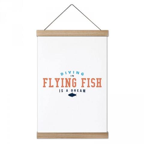 Flying Fish'de Dalış tasarım dekoratif ahşap çerçeveli kanvas poster. Dalgıçlara, dalış ve scuba diving severlere en güzel hediye modern kanvas poster duvar tabloları.