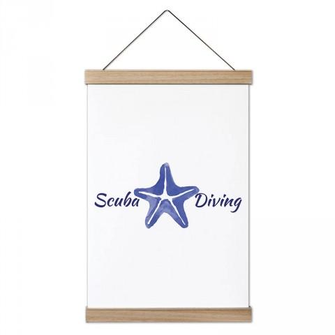 Scuba Diving Deniz Yıldızı tasarım dekoratif ahşap çerçeveli kanvas poster. Dalgıçlara, dalış ve scuba diving severlere en güzel hediye kanvas poster duvar tabloları.