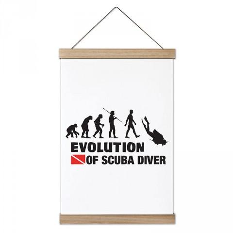 Dalgıçın Evrimi tasarım dekoratif ahşap çerçeveli kanvas poster. Dalgıçlara, dalış ve scuba diving severlere en güzel hediye modern kanvas poster duvar tabloları.