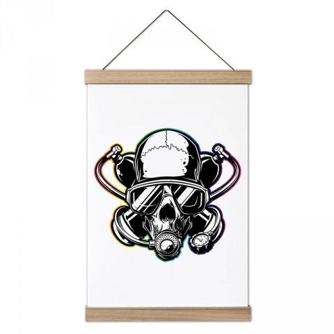 Dalgıç Kuru Kafa tasarım dekoratif ahşap çerçeveli kanvas poster. Dalgıçlara, dalış ve scuba diving severlere en güzel hediye modern kanvas poster duvar tabloları.