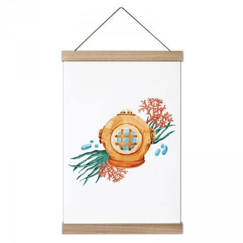 Eski Dalgıç Başlığı tasarım dekoratif ahşap çerçeveli kanvas poster. Dalgıçlara, dalış ve scuba diving severlere en güzel hediye modern kanvas poster duvar tabloları.