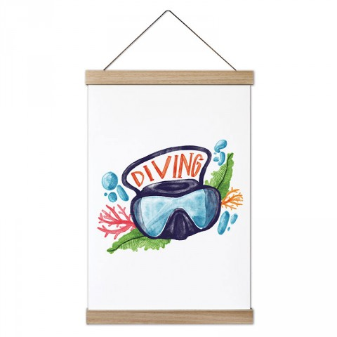 Sulu Boya Diving tasarım dekoratif ahşap çerçeveli kanvas poster. Dalgıçlara, dalış ve scuba diving severlere en güzel hediye modern kanvas poster duvar tabloları.